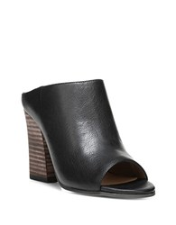 Franco Sarto Firefly Leather Stacked Heel Mules Black