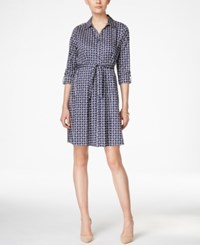 Charter Club Petite Geo Print Shirtdress Only At Macy's Intrepid Blue