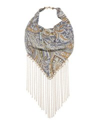 Lydell Nyc Paisley Bandana Necklace W Chain Trim