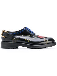 Dolce And Gabbana Heart Patch Lace Up Shoes Women Calf Leather Leather Polyester Rubber 36.5 Black