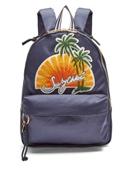 See By Chloe Sunset Embroidered Satin Backpack Navy Multi