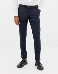 Esprit Slim Fit Suit Trousers In Blue Twisted Yarn