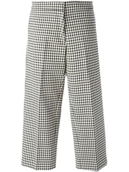 Erika Cavallini Semi Couture Cropped Gingham Check Trousers Black