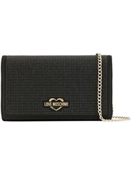 Love Moschino Satin Rhinestone Clutch Black