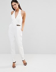 Forever Unique Antonia Halterneck Jumpsuit Ivory Cream