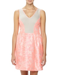 Yoana Baraschi Jacquard Ponte Fit And Flare Dress Pink Beige