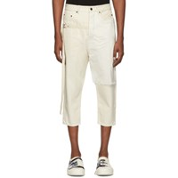 Rick Owens Drkshdw Off White Combo Collapse Cropped Jeans