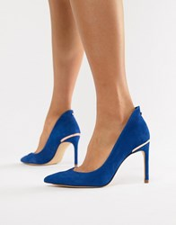 Ted Baker Suede Pointed High Heels Blue Suede