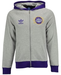 Adidas Men's Los Angeles Lakers Originals Full Zip Hoodie Gray Purple