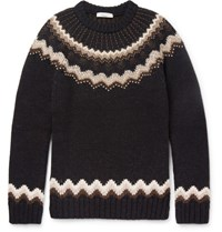 Valentino Slim Fit Studded Fairisle Wool And Alpaca Blend Sweater Brown