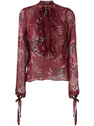 Etro Semi Sheer Blouse Red