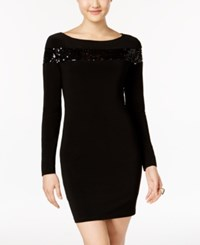Jump Juniors' Sequin Trim Bodycon Dress Black
