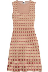 M Missoni Mesh Paneled Crochet Knit Mini Dress Beige