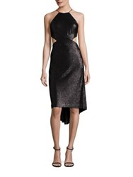 Halston Sequined Cutout Halter Dress