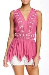 Hazel Embroidered Zigzag Hem Tunic Pink