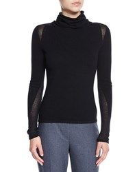 Elie Tahari Inga Paneled Mock Neck Cashmere Sweater Black