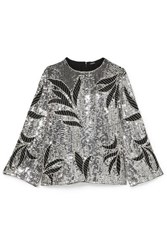Dodo Bar Or Clara Embellished Sequined Tulle Top Silver
