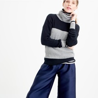 J.Crew Collection Italian Cashmere Two Tone Turtleneck Sweater