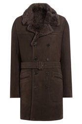 Jil Sander Shearling Coat Brown