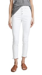 Madewell High Rise Button Front Skinny Jeans Pure White