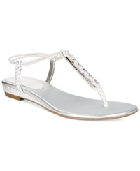 Style And Co. Edithe Embellished Flat Thong Sandals Women's Shoes White