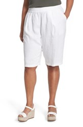 Eileen Fisher Plus Size Women's Organic Linen Pull On Long Shorts White