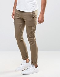 Asos Super Skinny Cargo Trouser In Light Stone Shittake Brown