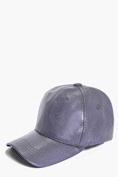 Boohoo Leather Look Baseball Cap Grey