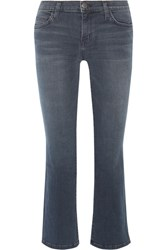Current Elliott The Kick Cropped Mid Rise Flared Jeans Dark Denim