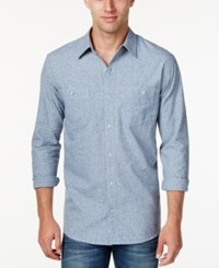 Weatherproof Vintage Men's Textured Denim Long Sleeve Shirt Only At Macy's Asphalt