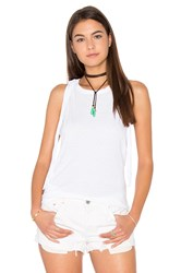 Pam And Gela Fringe Back Tank White