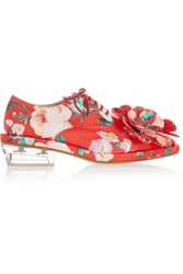 Simone Rocha Appliqued Floral Print Satin Brogues Red