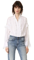 The Kooples Ruffle Front Blouse White