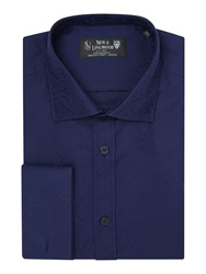 New And Lingwood Jacquard Tailored Fit Long Sleeve Cutaway Collar Navy