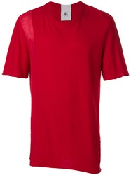 Lost And Found Rooms Plain T Shirt Cotton Linen Flax Red