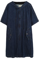 Current Elliott Oversized Stretch Denim Hooded Poncho Dark Denim