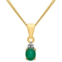 A B Davis 9Ct Gold Precious Stone And Diamond Oval Pendant Necklace Yellow Gold Emerald