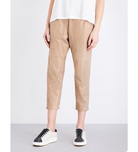 Brunello Cucinelli Cropped Metallic Suede Trousers Gold