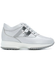 Hogan Mid Top Platform Logo Sneakers Metallic