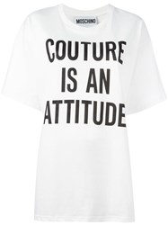 Moschino Printed Loose Fit T Shirt White