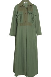 Topshop Unique Redford Oversized Cotton Canvas Paneled Twill Trench Coat Army Green