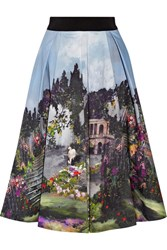 Alice Olivia Audrey Printed Cotton Blend Midi Skirt Sky Blue