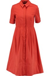 Raoul Soho Cotton Blend Shirt Dress Tomato Red