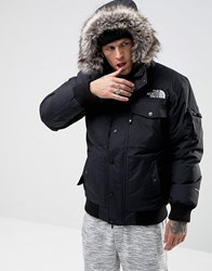 The North Face Gotham Bomber Jacket With Detachable Faux Fur Hood In Black Tnf Black