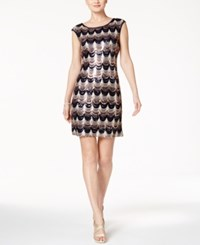 Connected Cap Sleeve Sequin Scallop Dress Navy Gold