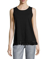 Lord And Taylor Fringe Trim Shell Black