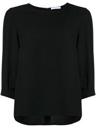 Estnation Cropped Sleeve High Low Hem Blouse Women Polyester 36 Black
