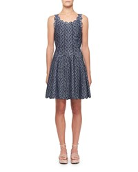 Alaia Camee Scallop Trimmed Short Sleeve Dress Navy