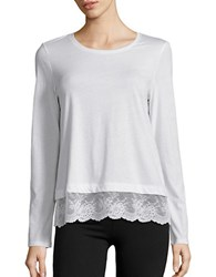 Lord And Taylor Petite Lace Hem Tee Ivory