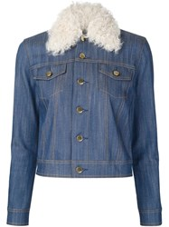 Derek Lam 10 Crosby Shearling Collar Denim Jacket Blue